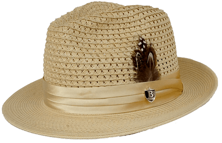 Mens Summer Hat Natural Tan Straw Fedora BC502 Size S,M,L