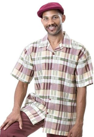 Montique Men's Wine Plaid Short Sleeve Walking Suit 698 Size 2XL