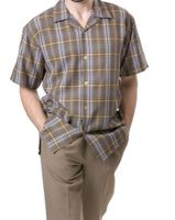 Montique Mens Brown Plaid Short Sleeve Walking Suits 697