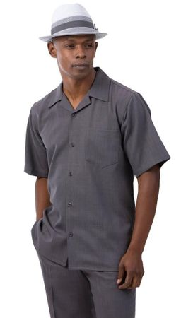 Montique Walking Suit Short Sleeve Gray Outfit 696