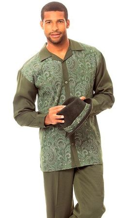 Montique Mens Green Paisley Front Casual Walking Suit 1626 - click to enlarge