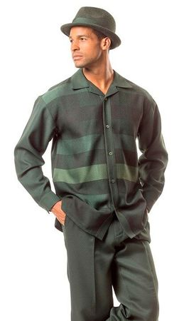 Montique Mens Green Texture Plaid Leisure Walking Set 1628 - click to enlarge