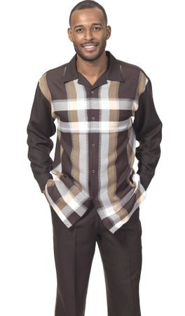 Montique Mens Brown Big Stripe Pattern Long Sleeve Walking Suits 1796 - click to enlarge