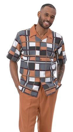 Montique Walking Suit Cognac Block Pattern Short Sleeve 2010