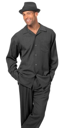 Montique All Black Walking Suit for Men Long Sleeve 1641