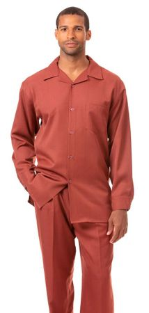 Montique All Rust Walking Suit for Men Long Sleeve 1641