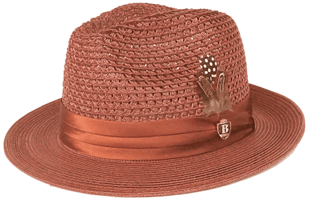 Mens Summer Hat Copper Brown Straw Fedora BC509