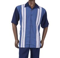 Inserch Mens Blue Panel Front Short Sleeve Walking Suit 80156-11