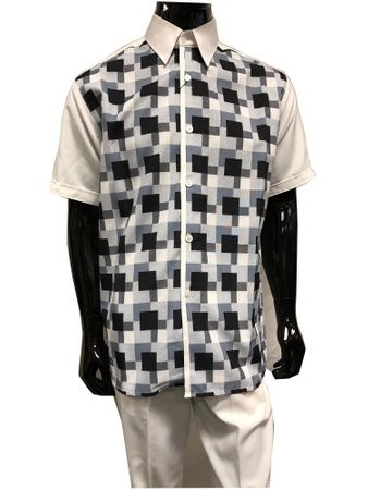 Pronti Mens Casual White Plaid Front Summer Party Walking Suit 6501
