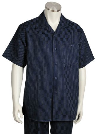Canto Mens Navy Blue Checker Design Short Sleeve Walking Suit 704 Size Large/36 Waist Final Sale - click to enlarge