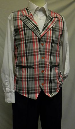 Montique Mens Red Charcoal Plaid Dressy Vest and Pants Set V-85