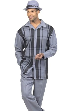 Montique Mens Gray Big Plaid Long Sleeve Walking Suits 1778 - click to enlarge