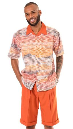 Montique Mens Rust Color Pattern Short Set 71915 Size L