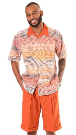 Montique Mens Rust Color Pattern Short Set 71915