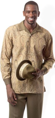 Montique Mens Olive Paisley Print Top Walking Suits 1135 - click to enlarge