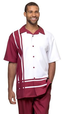 Montique Mens Short Sets Burgundy Block Pattern Outfit 7877