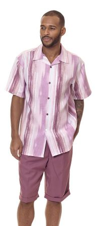 Montique Mens Short Sets Lavender Design Outfit 7844
