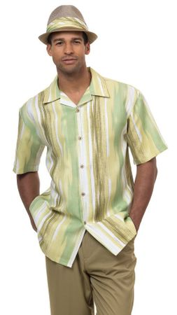 Montique Mens Short Sets Olive Green Pattern Outfit 7844 - click to enlarge