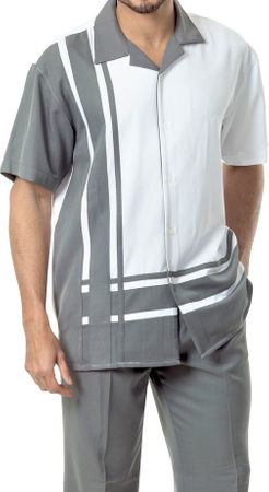 Montique Mens Short Sleeve Leisure Suit Gray White 1877 - click to enlarge