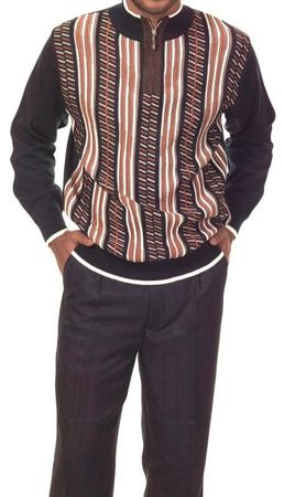 Montique Mens Stylish Casual Sweater and Pants Set Black 1703