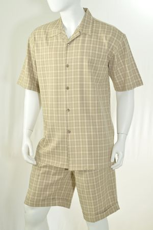 Christi Mens Khaki Plaid Casual Short Set 41402 - click to enlarge