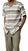 Montique Mens Short Sleeve Dressy Outfit Walking Set Olive 1728