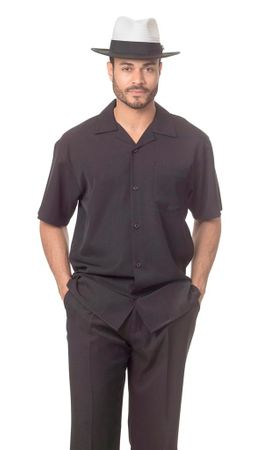 Montique Black Short Sleeve Walking Suit 696