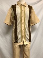 Trust Walking Suit Mens Khaki Knit Front Short Sleeve Set MB218SP