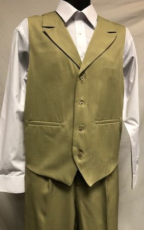 Montique Mens Sage Green Vest and Pants Set V-17
