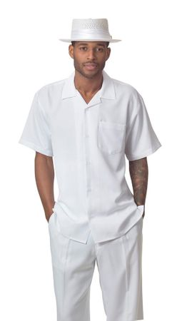 Montique White Short Sleeve Walking Suit 696