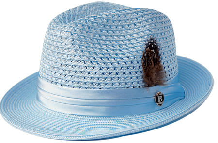Mens Summer Hat Light Blue Straw Fedora BC507 Size S