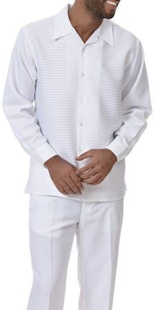 Montique Mens White Long Sleeve Walking Suit 2088