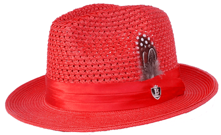 Mens Summer Hat Red Straw Fedora BC513