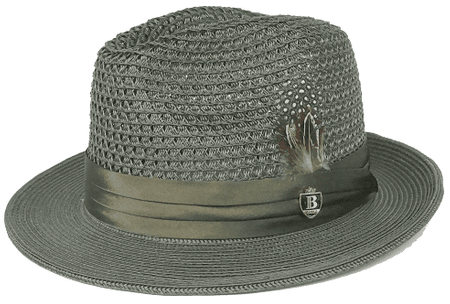 Mens Summer Hat Olive Straw Fedora BC510