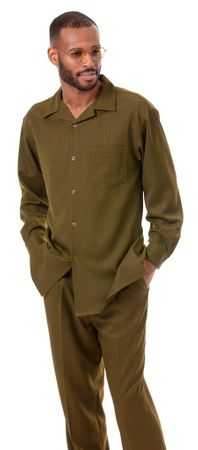 Montique Olive Green Walking Suit for Men Long Sleeve 1641 - click to enlarge