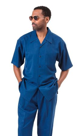 Montique Sapphire Blue Short Sleeve Walking Suit 696 Size M 2XL