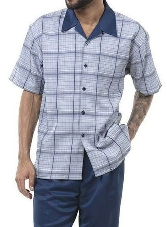 Montique Short Outfit for Men Blue Plaid Knee Length 71901