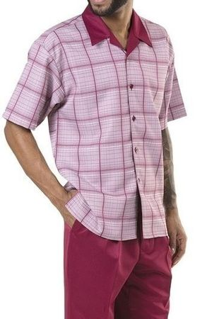 Montique Short Outfit for Men Burgundy Plaid Knee Length 71901