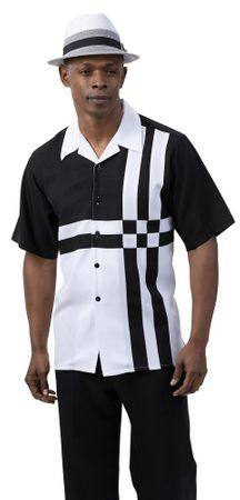 Montique Short Set Men's Black White Block Pattern 7078 Size L