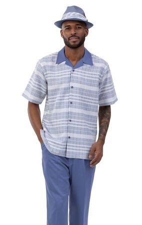Montique Short Sleeve Walking Suit Slate Blue Pattern 2037