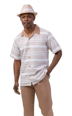 Montique Short Sleeve Walking Suit Tan Pattern 2037