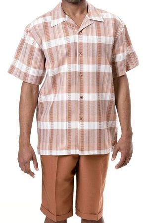 Montique Men's Brandy Plaid Short Sets 744 - click to enlarge