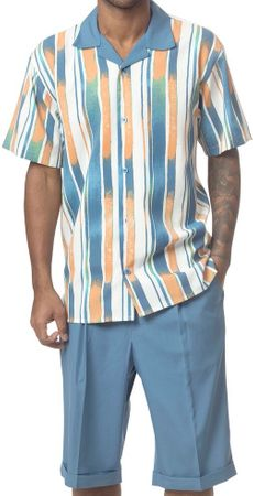 Mens Short Sets by Montique Blue Stripe Pattern 136 - click to enlarge