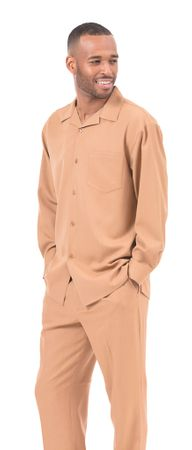 Montique Tan Walking Suit for Men Long Sleeve 1641
