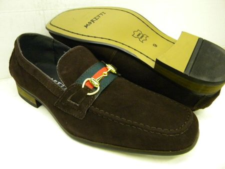 Moretti Mens Brown Metal Buckle Suede Loafers A1062 IS - click to enlarge