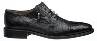 Ferrini Men's Black Alligator Ostrich Cap Toe Shoes 203/528