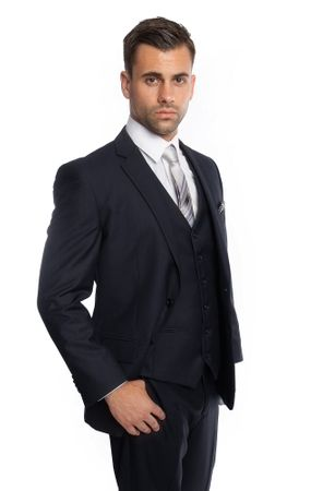 Navy Blue 3 Piece Suit Mens Solid Color Regular Fit Tazio M302-02 - click to enlarge