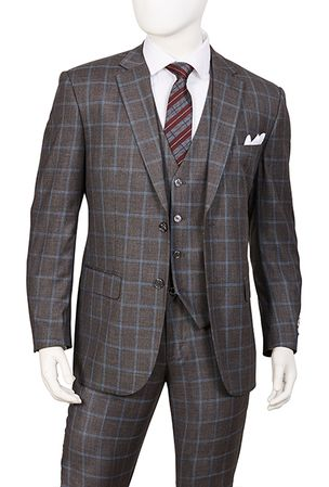 Mens 1920s 3 Piece Suit Gray Square Plaid Vittorio T62PD - click to enlarge