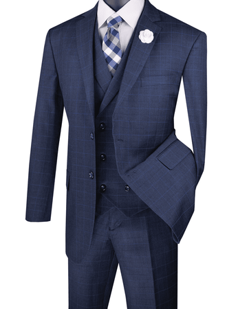 1920s Blue Square Plaid Mens Suit 3 Piece Vinci V2RW-13