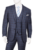 Mens 1920s 3 Piece Suit Blue Square Plaid Vittorio T62PD